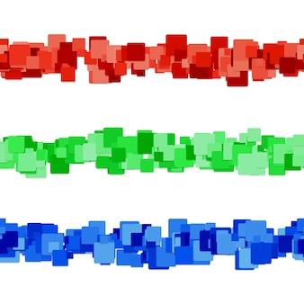 Conjunto quadrado de design de linha divisória de padrão quadrado abstrato - elementos de design gráfico vetorial de quadrados arredondados coloridos