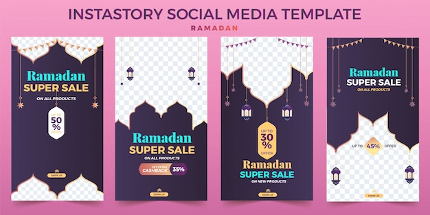 Conjunto ramadhan e modelo de mídia social instastory de venda eid, anúncio de banner.