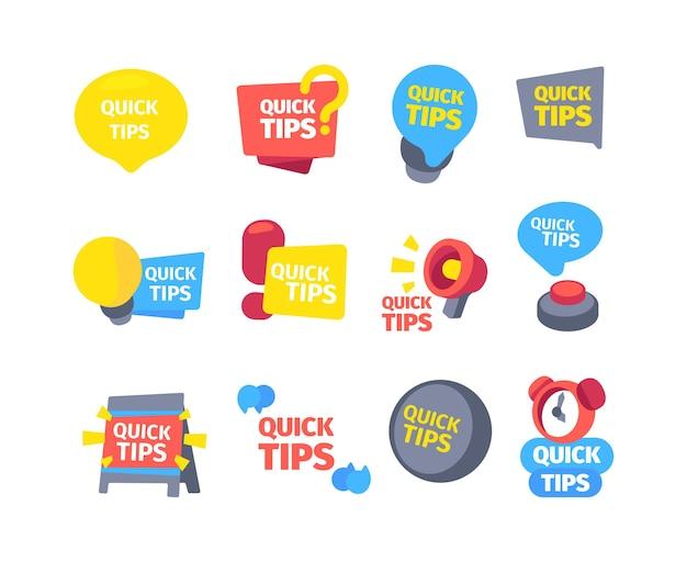 Conjunto rápido de dicas. dicas dicas úteis cores banners despertador tocando megafone quadro de mensagens botão vermelho ponto de interrogação velocidade ideia lâmpada solução de informação moderna.