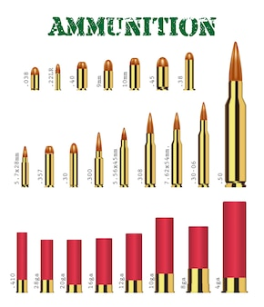 Conjunto real de muitos tipos de vetor de munição de arma