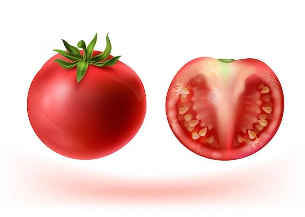 Conjunto realista 3d de tomates vermelhos. vegetal inteiro e metade com sementes.