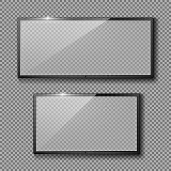 Conjunto realista com quadros de tv em branco, displays led pretos ou monitores