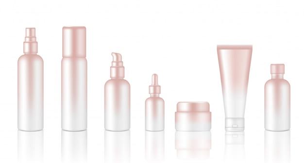 Conjunto realista conta-gotas de óleo cosmético de ouro rosa para cuidados com a pele