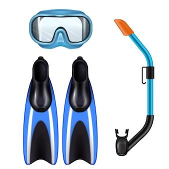 Conjunto realista de acessórios de mergulho com máscara de tubo de respiração e nadadeiras para esporte subaquático azul
