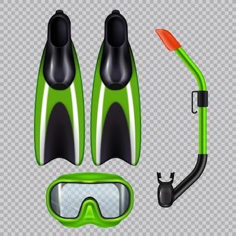 Conjunto realista de acessórios de mergulho com máscara de tubo de respiração snorkel e nadadeiras verdes em transparente