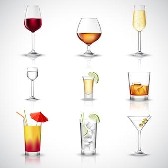 Conjunto realista de álcool