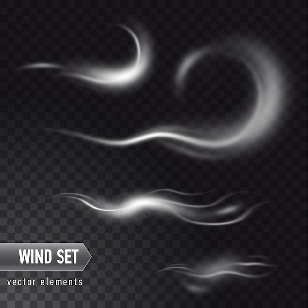 Conjunto realista de alta detalhadas vento ou nuvem de poeira em fundo transparente. efeito de fumaça branca, nevoeiro, spray.