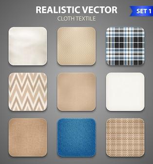 Conjunto realista de amostras quadradas de tecido