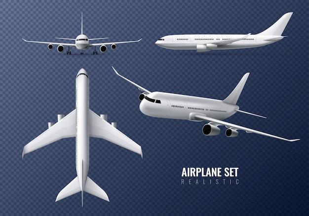 Conjunto realista de avião de passageiros na transparente com aviões em diferentes pontos de vista isolados
