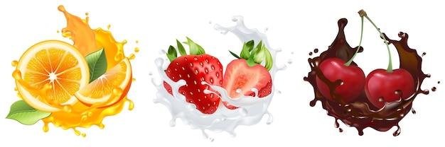 Conjunto realista de bagas e frutos. coleção de estilo de realismo desenhada cortando fatias de laranja, morango e cereja com respingos de leite cítrico de suco de frutas frescas