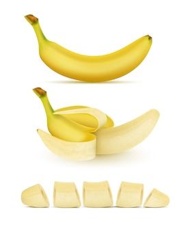 Conjunto realista de bananas amarelas, inteiras, descascadas e cortadas, isolado no fundo. doce trop