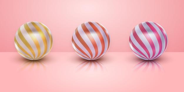 Conjunto realista de bolas 3d ouro rosa prata para elemento de design de feliz ano novo