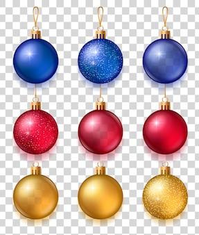 Conjunto realista de bolas de árvore de natal cintilantes em azul, vermelho e dourado Vetor Premium