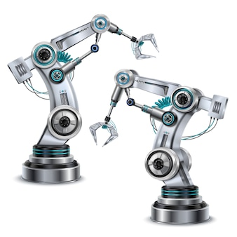 Conjunto realista de braço robótico com símbolos da tecnologia moderna isolado