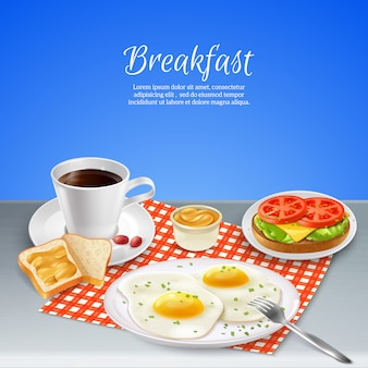 Conjunto realista de café da manhã