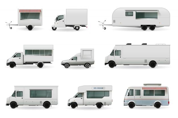 Conjunto realista de caminhões de comida