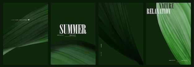 Conjunto realista de capa de folha verde mínima