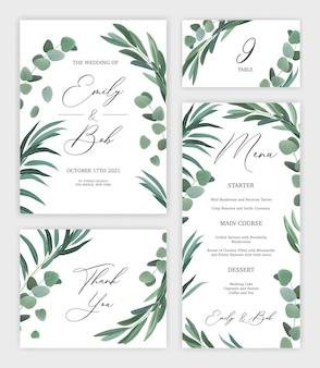 Conjunto realista de cartão de convite de casamento de design floral e ilustração isolada de menu festivo