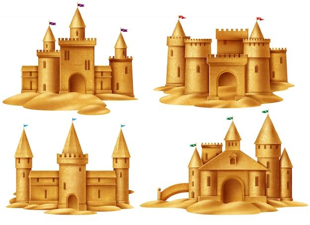 Conjunto realista de castelo de areia
