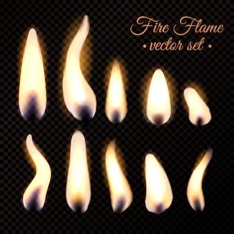 Conjunto realista de chamas de fogo