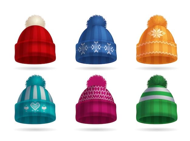 Conjunto realista de chapéu de malha inverno com chapéu e luvas isoladas