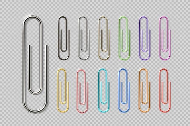 Conjunto realista de clipes coloridos