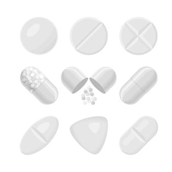 Conjunto realista de comprimidos e drogas branco. diferentes formatos de pílulas