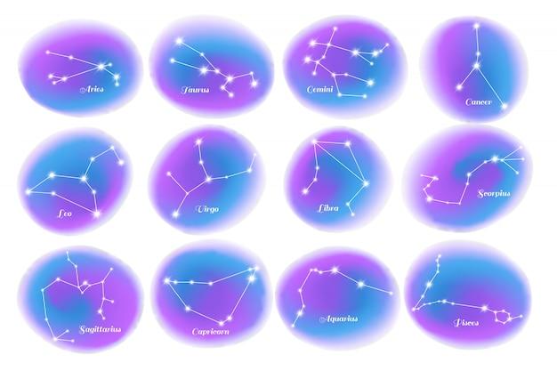 Conjunto realista de constelações do zodíaco