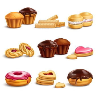 Conjunto realista de cookies e buisquits