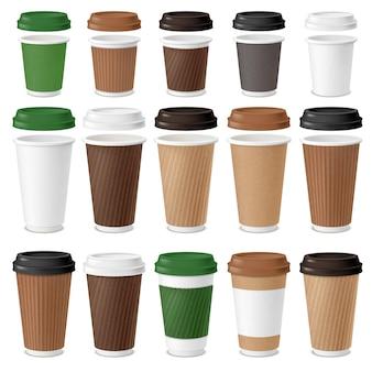 Conjunto realista de copos descartáveis de café