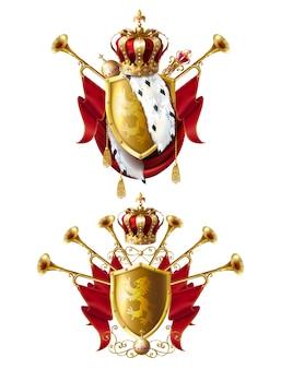 Conjunto realista de coroas reais, cetro e orbe