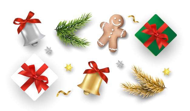 Conjunto realista de decoração de férias de natal.
