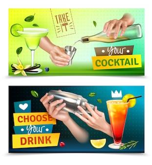 Conjunto realista de dois banners horizontais coloridos com mãos de barman mistura cocktails isolados