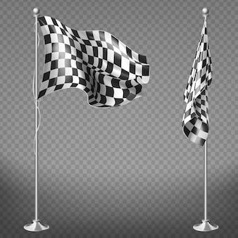 Conjunto realista de duas bandeiras de corrida em varas de aço isolado em fundo transparente.