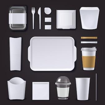 Conjunto realista de embalagem de hambúrguer de plástico e papel