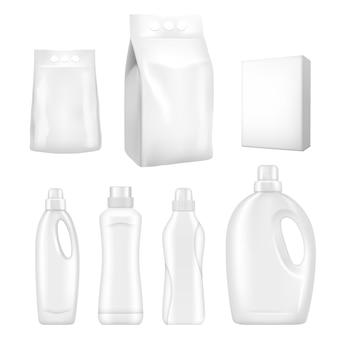 Conjunto realista de embalagens de detergente