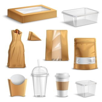 Conjunto realista de embalagens de fast-food para viagem