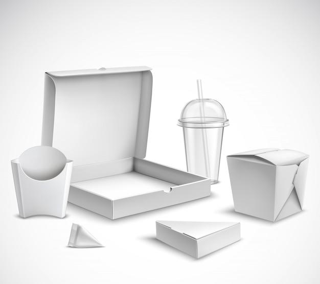 Conjunto realista de embalagens de fast-food