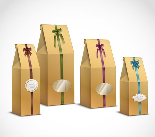 Conjunto realista de embalagens de papel de chá