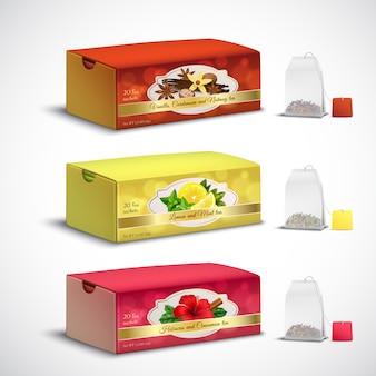 Conjunto realista de embalagens de saquinhos de chá