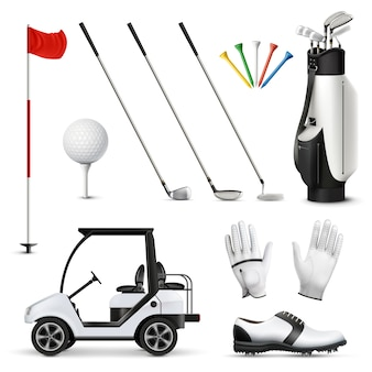 Conjunto realista de equipamento de golfe e vestuário de jogador isolado de ilustração vetorial