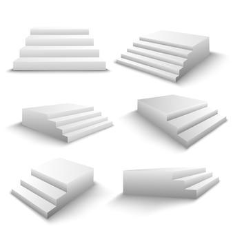 Conjunto realista de escadas 3d