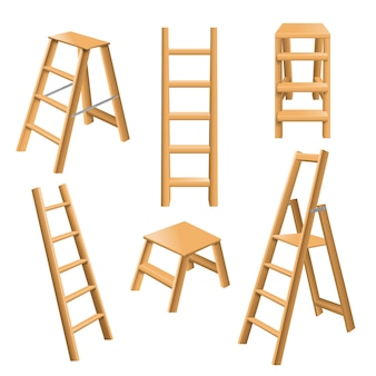 Conjunto realista de escadas de madeira