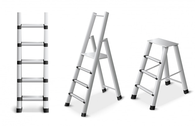 Conjunto realista de escadas de metal