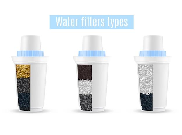 Conjunto realista de filtros de água de 3 tipos de unidades de purificação, modelos em corte com grânulos de carvão ativado
