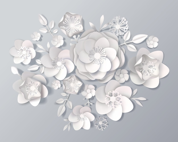 Conjunto realista de flores de papel branco