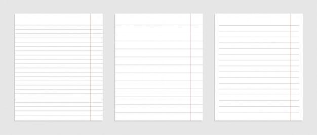 Conjunto realista de folhas de linha de papel em branco