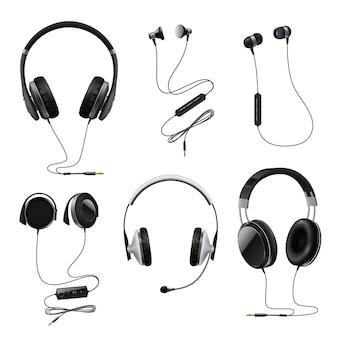Conjunto realista de fones de ouvido