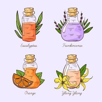 Conjunto realista de frascos de óleo essencial desenhado à mão