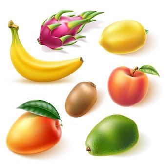 Conjunto realista de frutas tropicais manga, pêssego, abacate, banana, limão, kiwi e, dragonfruit, pitahaya Vetor Premium